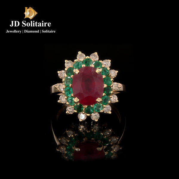 Ruby & Round Diamond Yellow Gold Ring
