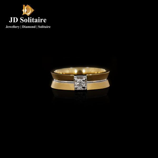 Diamond Yellow Gold Gents Rings