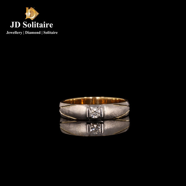 Single Diamond Yellow Gold Gents Ring