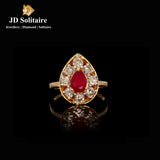 Red Stone Shape Diamond Ring
