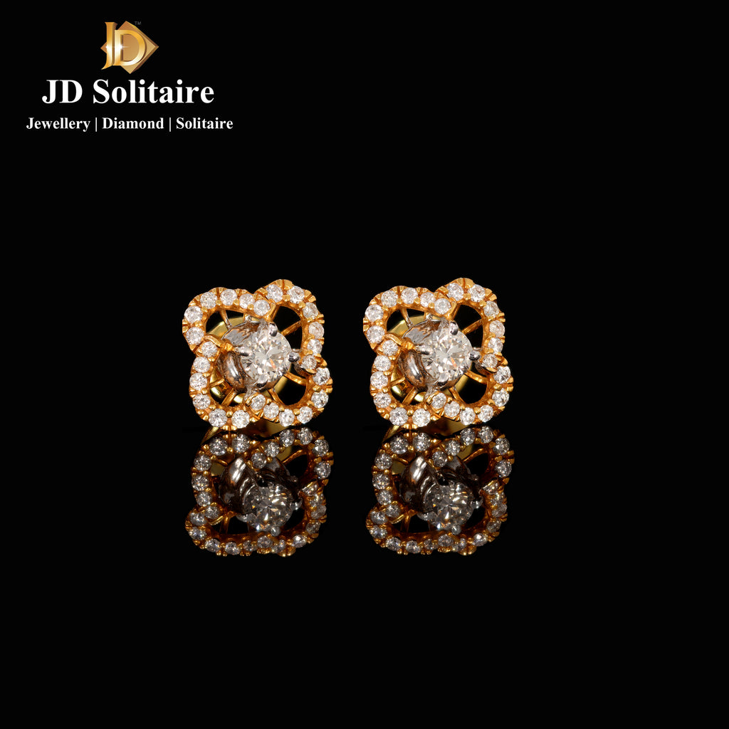 Solitaire With Small Diamonds Earrings