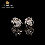 Solitaire Diamond White Gold Earrings
