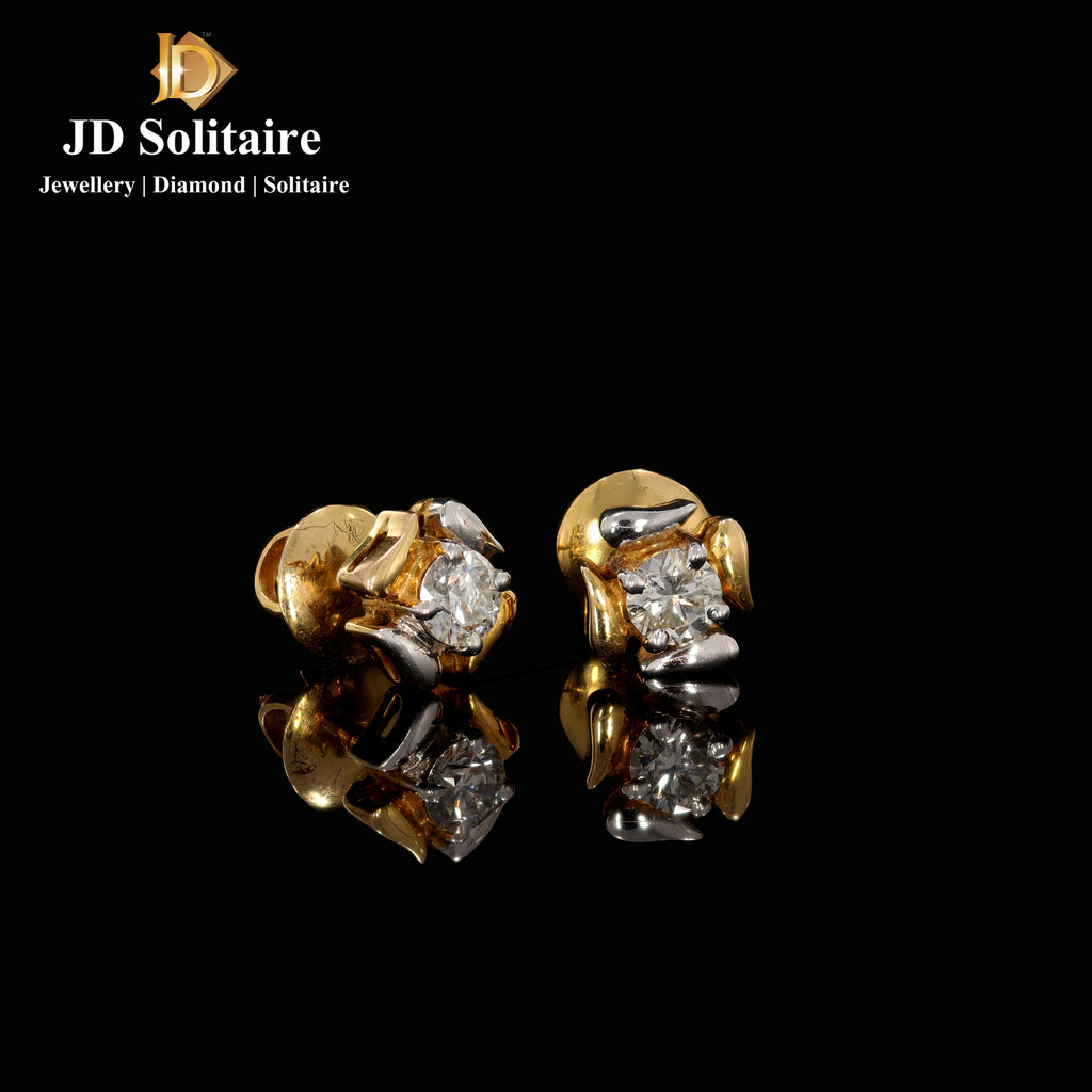 Solitaire Diamond Yellow Gold Earrings