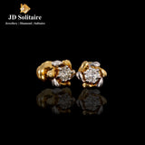 Flower Design Solitaire Diamond Yellow Gold Earrings