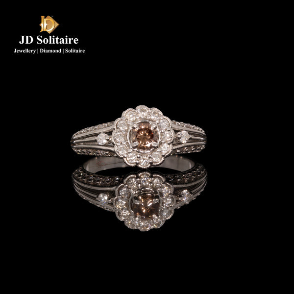 Shamphion Colour Solitaire With Small Diamond Ring