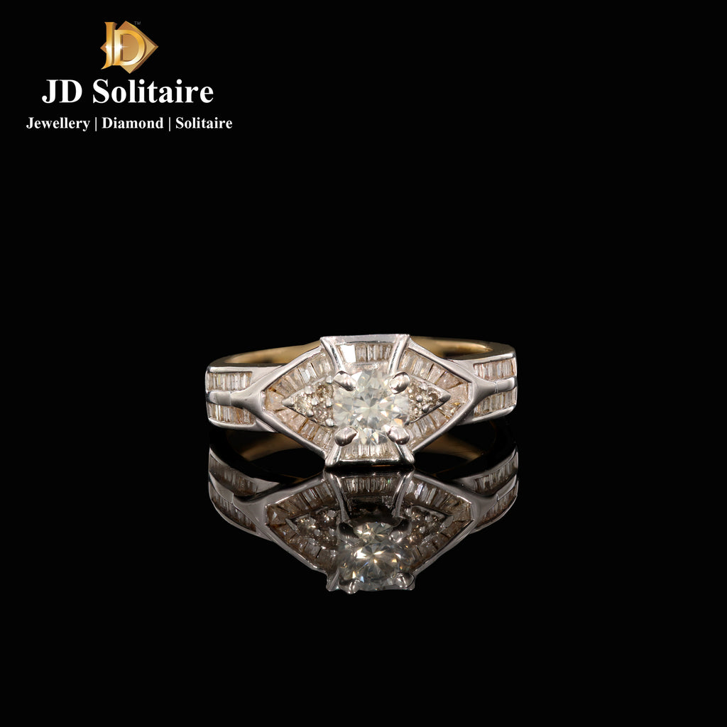 Solitaire With Round & Baguette Diamond Ring