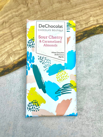 Sour Cherry & Caramelised Almonds White Chocolate Bar