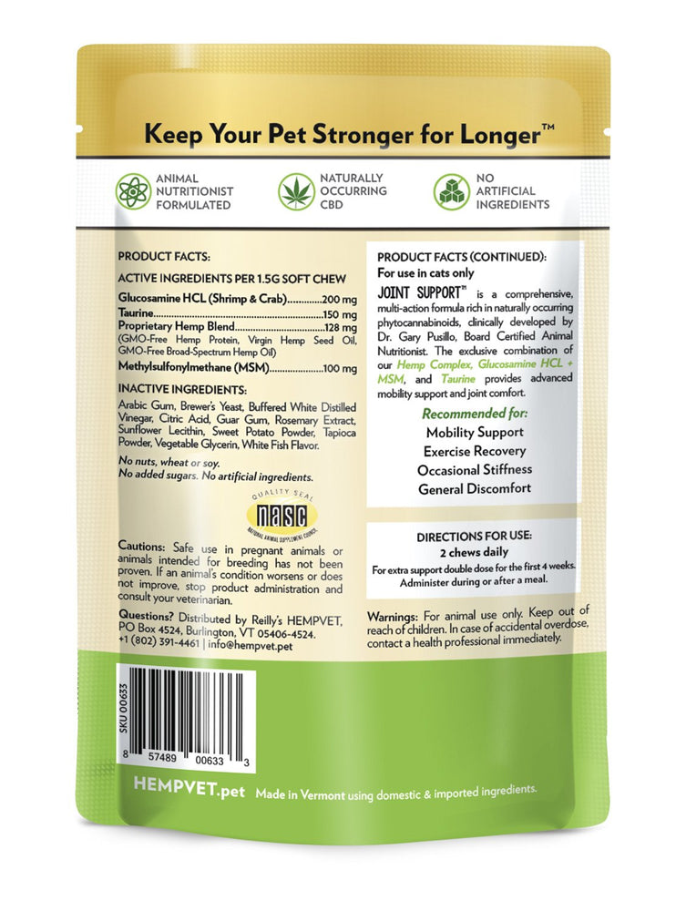 JOINT SUPPORT for Cats with 38mg CBD, Glucosamine HCL + MSM & Taurine