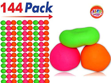 JA-RU Stretchy Ball (Pack of 144 Assorted Colors) and 1 Bouncy Ball Set Soft Bounce Stress Ball for Kids and Adults. Pull and Stretch Ball. Soft | Item #401-144p