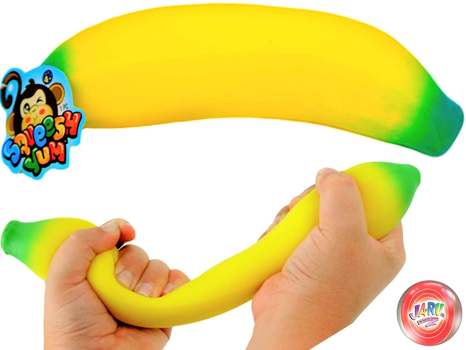 JA-RU Stretchy Banana Sensory Toy Squish Yum Buh Nay Nay (1 Unit) Stress Relief Toys | Fidget Toys for Kids and Adults. Autism Toys & Party Favors. 1-3340-1p