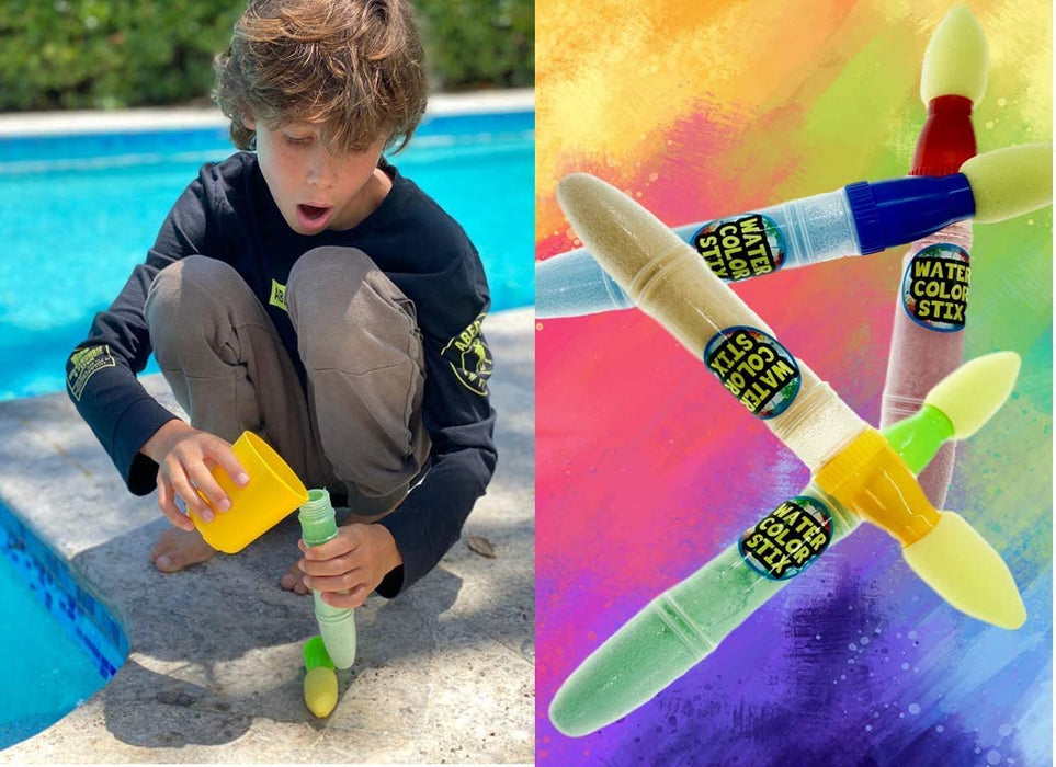 Sidewalk Paint Brushes Washable, Chalk for Kids New Version (1 Set) New Chalks Markers Paint, Water Color Sticks for Floor, Outdoor Games, Kids Art Set #3527-1A