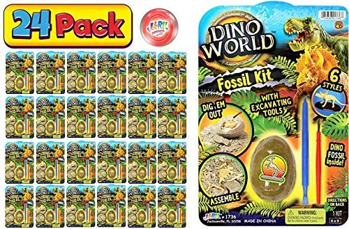 JA-RU Fossil Digging Kit Dinosaur Eggs Excavation Toys (1 Unit Pack Bulk) Dinosaur Digging Dino World Fossil Kit for Kids and Adults. Great Party Favor Excavation Set. 1736-1A