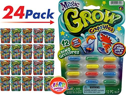 JA-RU Magic Grow Capsules ( Packs Capsules) Best Growing Animals Dinosaurs Capsules Bath Toys for Kids. and 1 Bouncy Ball. Bulk Supply. 305-p