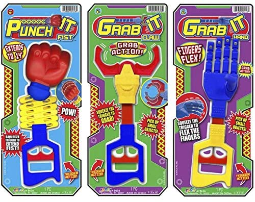 JA-RU Robot Arm, Robot Claw, Extendavle Arm (3 Pack in 3 Styles Assorted) 14 Inches Long. Grab, Punch and Pick Stick. Grabber Toys for Kids. Great Party Favor Tool Toy. Item #5616-3p
