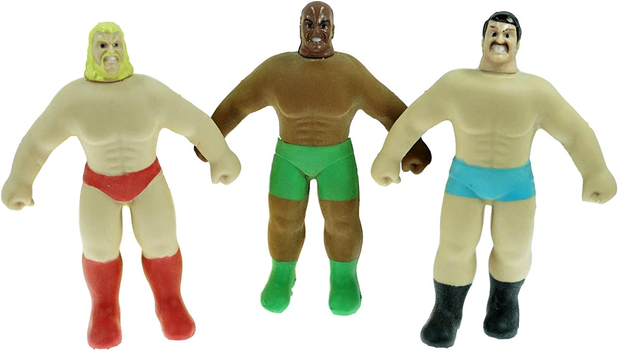 JA-RU Stretchy Wrestler Armstrongs Figures Assorted Styles (Pack of 3) Plus 1 Exclusive Bouncy Ball Pull and Stretch Fun - Item #4307-3p