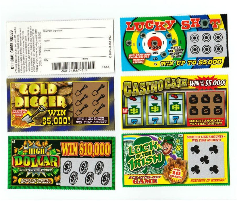 Unbranded 5 Phony Fake All Winning Scratch Off Lottery Tickets -Joke- Prank- Gag