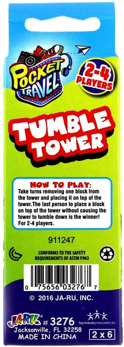Wood Tumble Tower Travel Game Portable Pocket Board Games Mini (Pack of 3) by JARU. Assortment of Classic Toys Party Favors Toy| Item #3276-3p