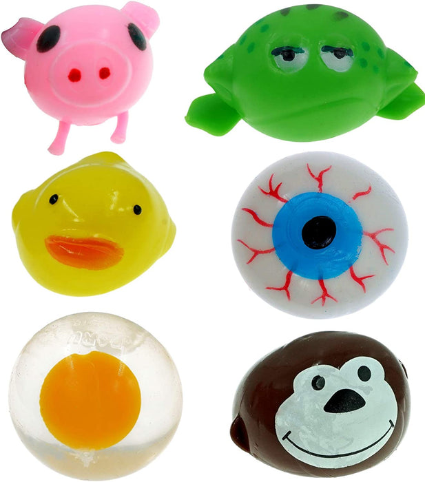 JA-RU Splat Balls Sticky & Stretchy (Pack of 4 Assorted) and 1 Bouncy Ball Decompression Splat Toy Egg, Eye, Monkey, Frog, Duck & Pig. New2-5303-4p