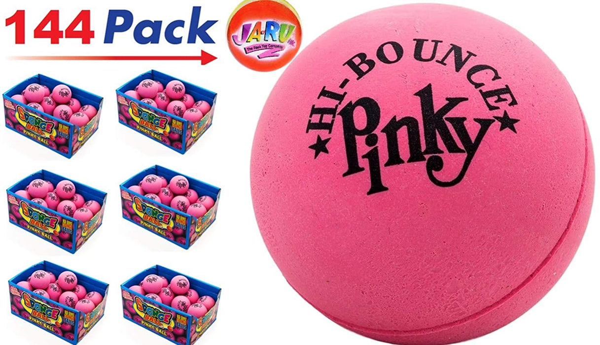 "Pinky Ball (Pack of) 2.5"" Hi Bounce Large Pink Rubber Balls for Play or Massage Therapy. Plus 1 Small JA-RU Ball. # 976"