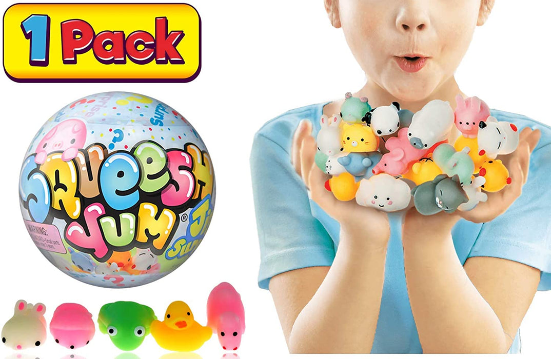 "JA-RU Mochi Squishy Animals Surprise Toys for Girls Collection Squish Yum Jiggly Fun (1 Ball) 5 Mochi Each Mystery 4"" Ball Stress Reliever Toys Party Favors for Kids. 3334-1A"