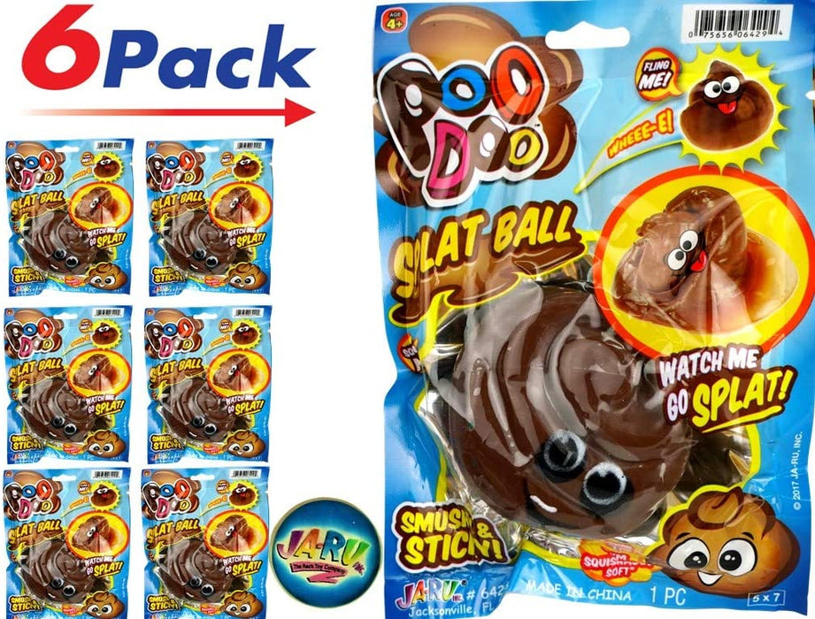 JA-RU Splat Poo Ball Sticky & Stretchy (Pack of 6 Brown) Poo .6429- Brown-6slp