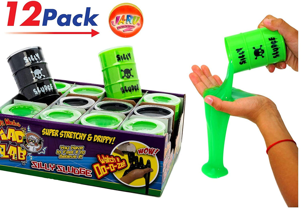 Large Slime in a Barrel Silly Sludge (12 Units Assorted) | Oil Barrel Slime Party Favors for Kids Toy Game. Stress Relief Toy. Pinata Filler. Decoration Toys in Bulk for Kids and Adults | 5438-12p