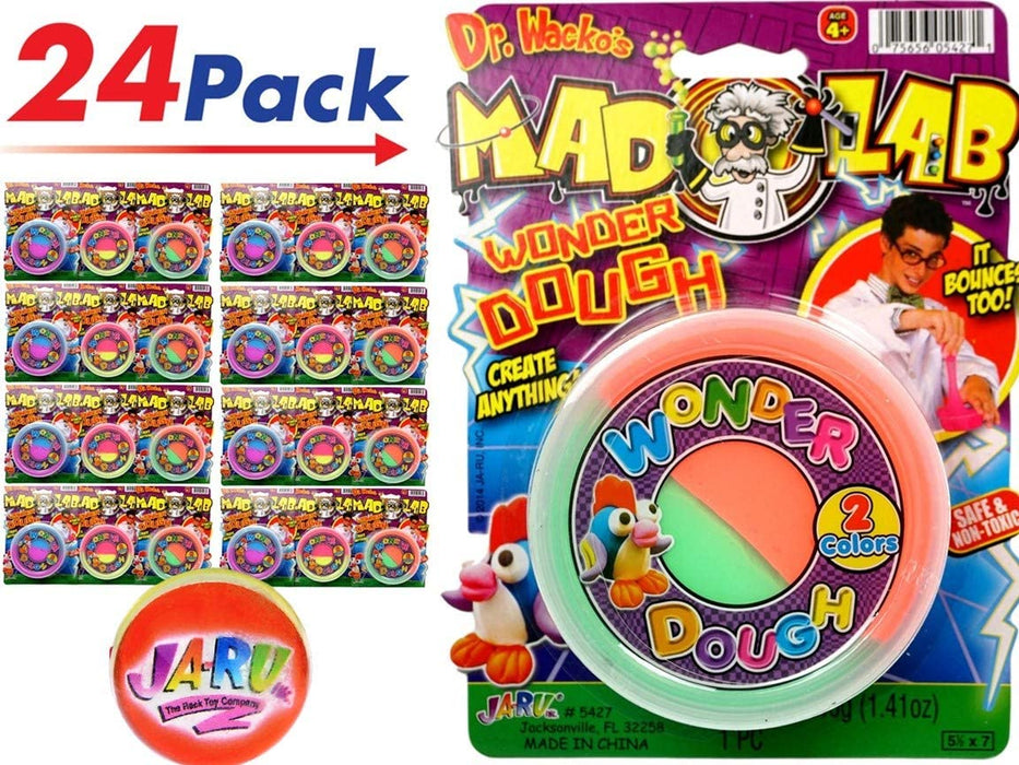 JA-RU Mad Lab Wonder Dough Cloud Slime (Pack of 3 Bulk) Bouncing Colorful Super Butter Soft, Great Party Favors - Item #5427-3
