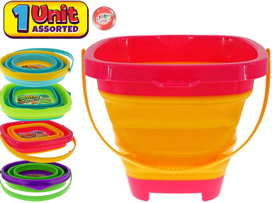 JA-RU Collapsible Bucket Expandable Beach Sand Pail (Pack of 1 Random Assorted) Great Travel Sand Buckets or Snow Toys for Kids & Toddlers 1290-1p