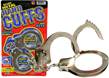 JA-RU Kids Handcuffs Metal Hand Cuffs (Pack of 1) Steel Handcuffs Law Enforcement for Kids and Adults. Cuffs with Key for Costume, Pretend Play and Role Play Item #2158-1A