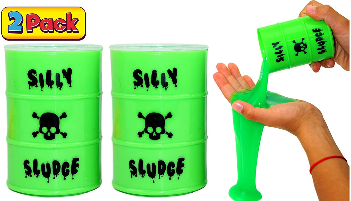Large Slime in a Barrel Silly Sludge (2 Units Green) | Oil Barrel Slime Party Favors for Kids Toy Game. Stress Relief Toy. Pinata Filler. Decoration Toys in Bulk for Kids and Adults | 5438-2p
