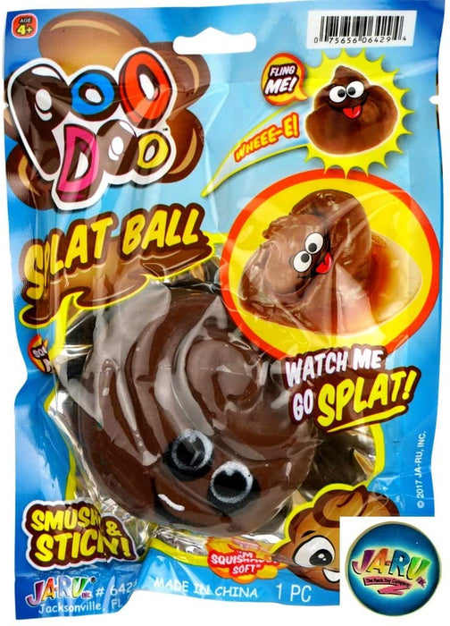 JA-RU Splat Poo Ball Sticky & Stretchy (Pack of 1 Brown) and Bouncy Ball Poo .6429-Brown-1slp