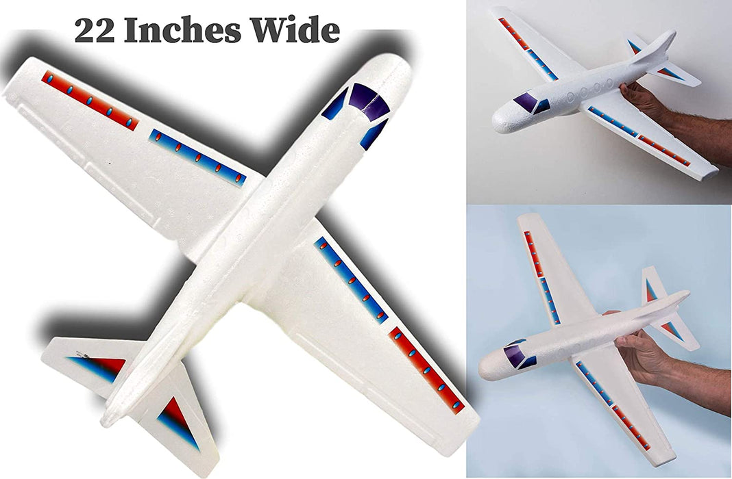 "2GoodShop Giant Airplane Styrofoam Glider 22"" ( Pack) for Kids and Adults Throw The Plane and Watch It Glide for Outdoor Fun. Comes with 1 Bouncy Ball 