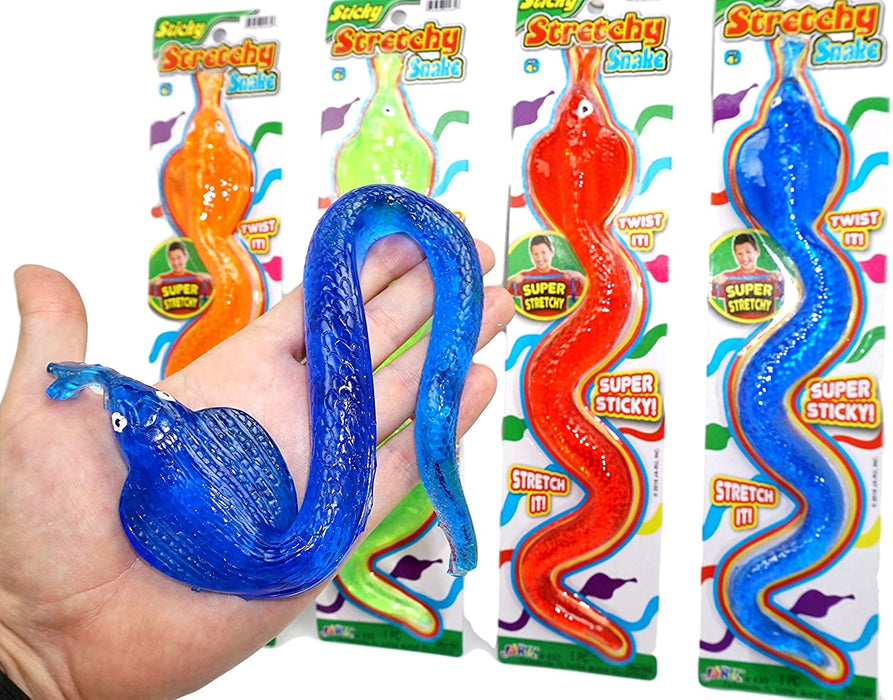 JA-RU Giant Sticky Snake Stretchy Snap Smak Toys (1 Pack) Squishy Sticky Snake Party Favors Birthday Toy Supplies for Kids, Pinata Filler, Bulk Toys, Stocking Stuffers, Goody Bags. Prank. 430-1A