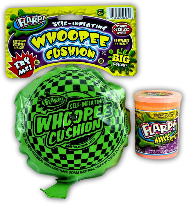 JA-RU Whoopee Cushion Self Inflating and Flarp Noise Putty Combo Item #327-41 E18