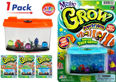 JA-RU Magic Grow Fish Aquarium, Grow in Water Magic Toy Plus 1 Bouncy Ball Bundle Sea Creatures | Item #306-1slp
