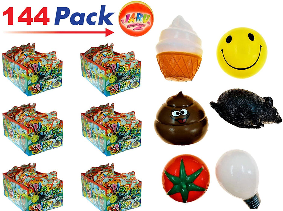 JA-RU Splat Ball Sticky & Stretchy (Pack of 144 in 6 Display Boxes) and 1 Bouncy Ball 5303-144p