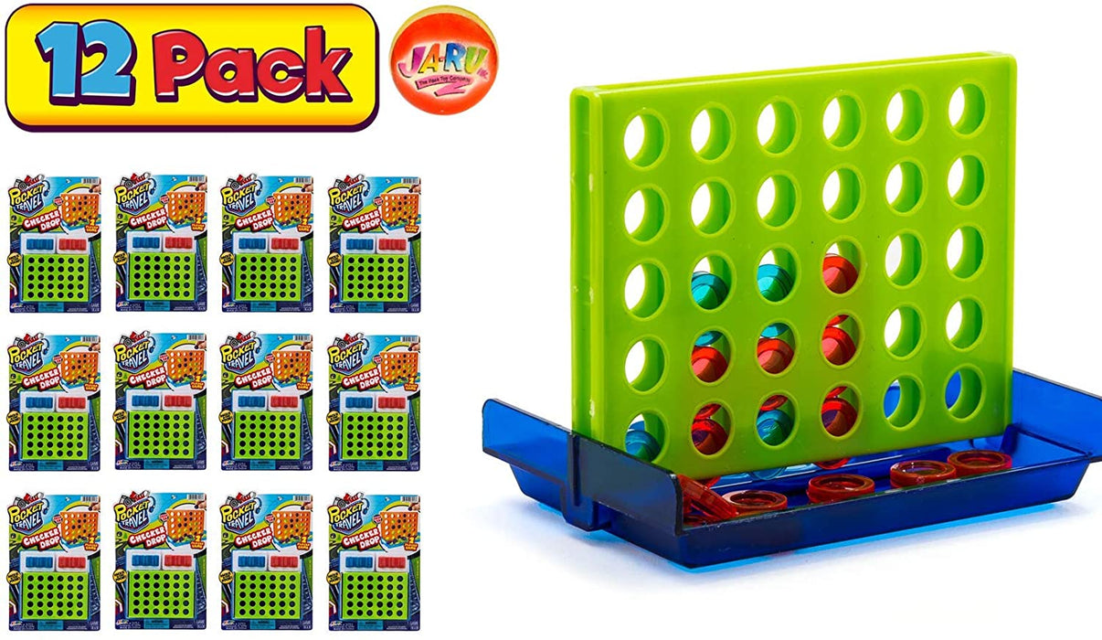 Checker Drop Connect Travel Mini Portable Pocket Board Games (Pack of 12) by JARU. Assortment of Classic Toys Party Favors Checkers Toy| Item #3253-12p