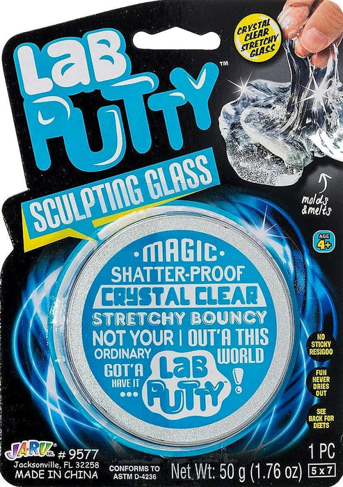 JA-RU Lab Putty Crystal Clear Glass (1 Pack) Best Thinking Smart Crazy Stress Putty with Tin, Sensory & Bouncing Toy Favors. 9577-1A