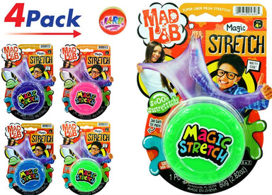 JA-RU Magic Stretch Super Uber Mega Stretchy (Pack of 4) and Bouncy Ball Colorful Super Mega Soft Item #5346-4p