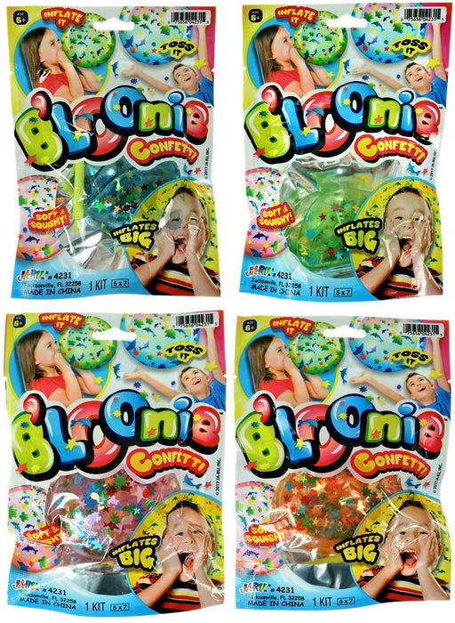 B'loonies Inflatable Balls Soft Stretchy Squishy With Confetti Inside (4 Unit Assorted) JA-RU Great Original Blowing Bubble Ball Making Toy Great Party Favors Pinata Filler. Plus 1 Bouncy Ball 4231-4p