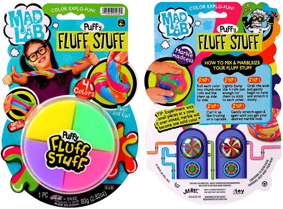 JA-RU Fluffy Slime Mad Lab Puffy Fluff Stuff Dough (Pack of 12) and 1 Bouncy Ball Super Soft and Non-Sticky Stress Relief Toy Bulk| Item #5432-12p