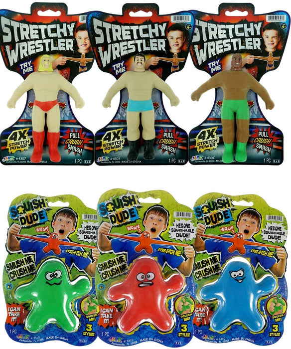 JA-RU Stretchy Banana, Stretchy Wrestler and Stretchy Dude (3 Toy Pack) Stress Toys for Kids and Adults, Party Favor - Stretch Toy Item #3340-4307-3410
