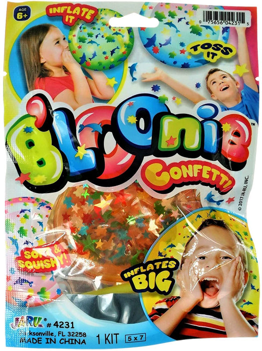 JA-RU B'loonies Inflatable Balls Soft Stretchy Squishy with Confetti Inside (1 Unit Random Assorted Color) Great Original Blowing Bubble Ball Making Toy Great Party Favors Pinata Filler. 4231-1A