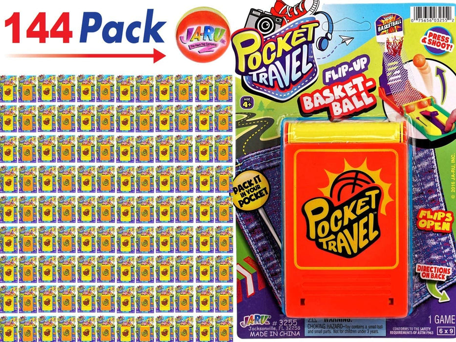 JA-RU Basketball Pocket Travel Game (144 Units) and one Bouncy Ball Item #3255-144p