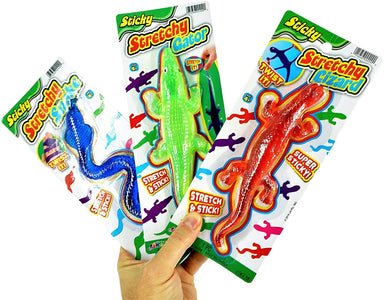 JA-RU Super Stretchy Sticky Reptiles Snake, Lizard & Alligator (3 Units Assorted) Prank Squishy Sticky Toy Party Favors Toy for Kids, Pinata Filler, Bulk Toys, Snap Hand Like Fidget Toy. 429-3A