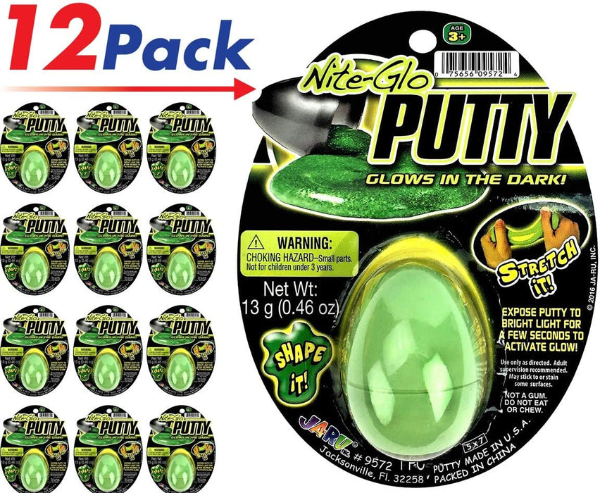 JA-RU Putty Glow in The Dark (Pack of 12) and Bouncy Ball Item #9572-12