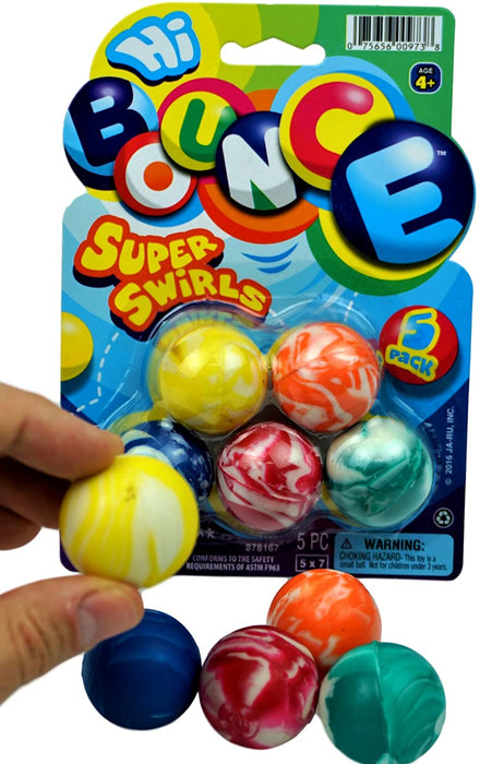 JA-RU Super Hi Bounce Balls 45 mm (1 Pack 5 Balls) Medium Size Extreme Bounce Ball 1 Pack of 5 | Item #973-1