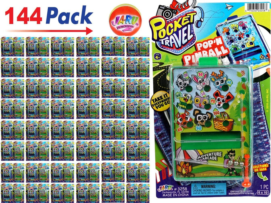 Pinball Game for Kids Portable Pocket Board Games Mini (Pack of 144) by JARU. Assortment of Classic Toys Party Favors Toy| Item #3258-144p
