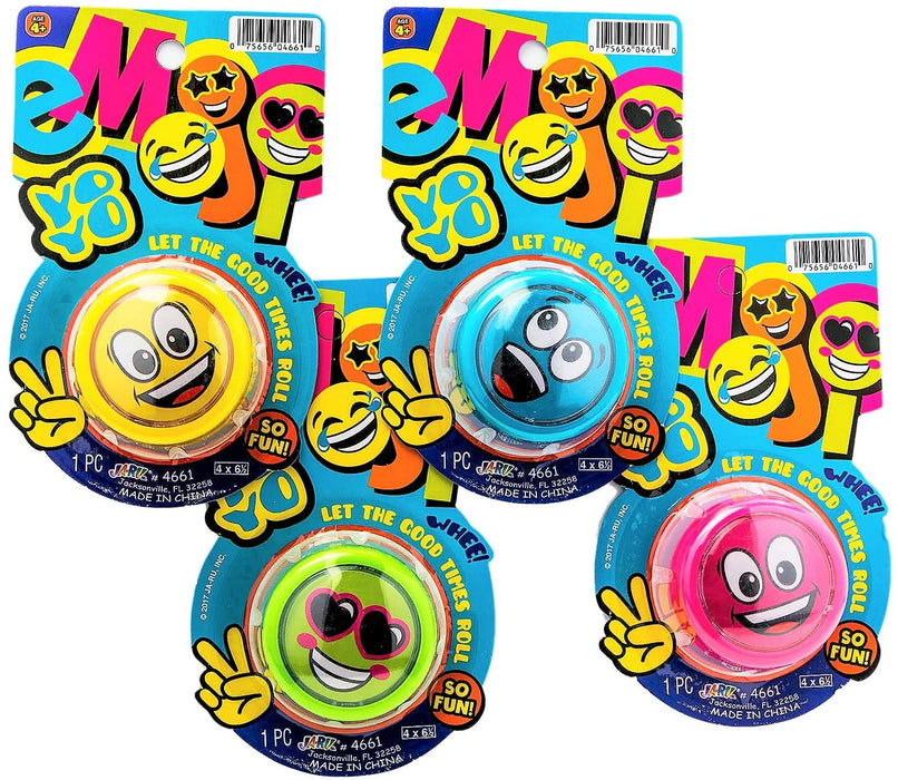 JA-RU Emoji Yo-Yos Variety Party Pack (1 Pack) Emoji Faces Yoyos for Kids Boys and Girls. Stocking Stuffers , Gifts, Party Favors in Bulk Party Supplies. Yo Yos. 4661-1A