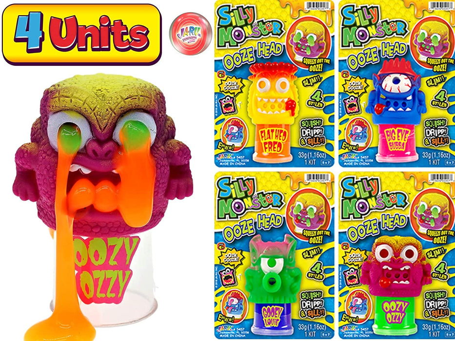 JA-RU Slime Monster Squishy Barf Slime Toy (Pack of 4 Assorted) Vomit Silly Monster Stretchy Fluffy Sludge Ooze Slime Putty, Non Sticky, Stress Relief. Kids Fidget Toy 5457-4p